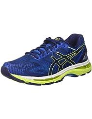 Asics Gel-Nimbus 19, Chaussures de Course pour Entraînement sur Route Homme, Indigoblue/Safetyyellow/Electricblue