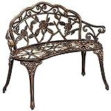 [casa.pro] Gartenbank Bronze Gusseisen - Wetterfester 2-Sitzer rund aus Metall im Antik-Design - Parkbank / Sitzbank / Eisenbank im Landhausstil