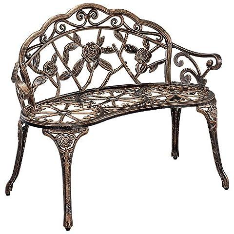 [casa.pro] Gartenbank Bronze Gusseisen - Wetterfester 2-Sitzer rund aus Metall im Antik-Design - Parkbank / Sitzbank / Eisenbank im (Runde Gartenbank)