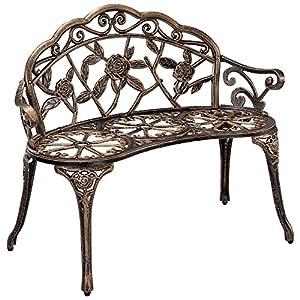 [casa.pro]® Gartenbank Bronze Gusseisen – Wetterfester 2-Sitzer rund aus Metall im Antik-Design – Parkbank/Sitzbank/Eisenbank im Landhausstil