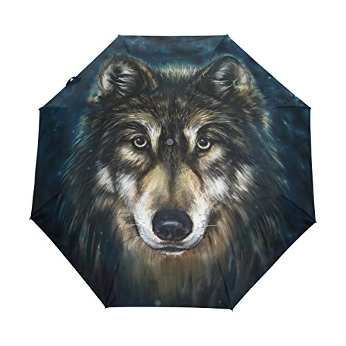 bennigiry Schlitten Canis Wolf head 3Zusammenklappbar Auto Open Close Regenschirm, Kompakt winddicht tragbar Haltbarkeit Travel Regen Regenschirm einfaches tragen