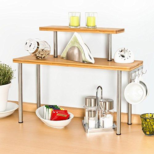 bremermann Scaffale per Cucina, scaffale angolare in bambù e Acciaio ...