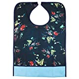 ROSENICE Adult Bibs Clothing Protectors Waterproof Pocket Bib Apron Washable with Crumb Catcher(Floral)