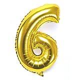 40 pulgadas Digital número 0 - 9 engrosamiento lámina de oro llenas de aire aluminio / hidrógeno / helio globos de Mylar para el día de la independencia cumpleaños aniversario de boda (número 6) UQ006