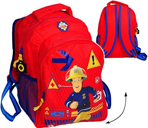 alles-meine.de GmbH 3-D Effekt _ Kinder Rucksack -  Feuerwehrmann Sam Jones  - Tasche - mit Seit..