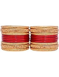 Dulari Stone Embellished Lac Round Bridel Punjabi Bangles Set For Women (Set Of 20 Bangles)