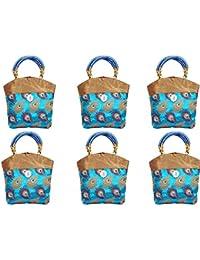 Kuber Industries™ Women Mini Handbag 10*10 Inches (Sky Blue) Set Of 6 Pcs