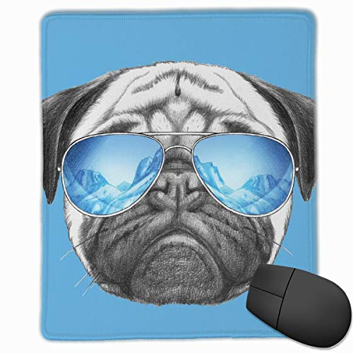 Mouse Mat Stitched Edges, Pug Portrait With Mirror Sunglasses Hand Drawn Illustration Of Pet Animal Funny,Gaming Mouse Pad Non-Slip Rubber Base