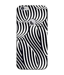 PrintVisa Designer Back Case Cover for Apple iPhone 6S (Logo View Window Case) (Black&White Ribbon Strips )