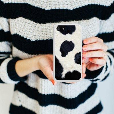 Apple iPhone 4 Housse Étui Silicone Coque Protection Peau de vache Look Vache Housse en silicone blanc