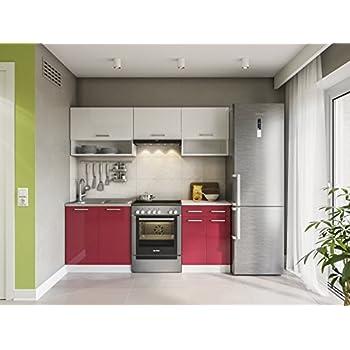 Eldorado möbel küche lux 200 cm rot küchenzeile küchenblock einbauküche komplettküche
