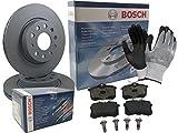 Bosch BREMSEN SET VORNE 2x BREMSSCHEIBE BELÜFTET + 4 BREMSBELÄGE, inklusive Montagehandschuhe - Bremsensatz, Scheibenbremse Bremsen Set, Bremskit, Bremsenkit