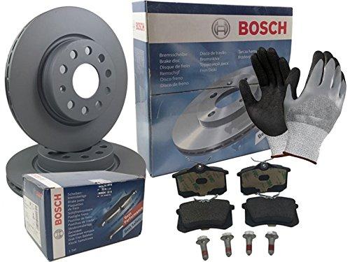 Preisvergleich Produktbild Bosch BREMSEN SET VORNE 2x BREMSSCHEIBE BELÜFTET + 4 BREMSBELÄGE, inklusive Montagehandschuhe - Bremsensatz, Scheibenbremse Bremsen Set, Bremskit, Bremsenkit