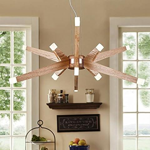 ZQ@QX moderne décoration design lustre lampe chambre salon de cuisine salle à manger Lustre en bois minimaliste américain 350 x 1000 (mm)