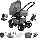 Friedrich Hugo Berlin | 3 in 1 passeggino con carrozzina modulari combinabili set completo | ruote ad aria | Colore: Grey and Light Grey Night