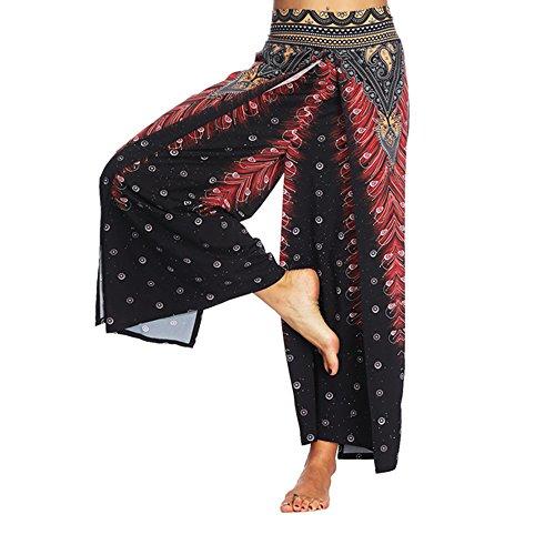 QINPIN Frauen Casual Hosen Thailand Indonesisch Digital Printed Lose Weite Hosen Böhmische Yogahosen Rot M