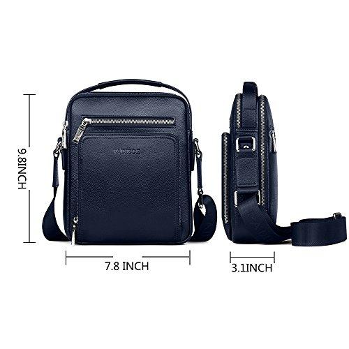 Padieoe Herren echt Leder Umhängetasche Business Handtasche casual Kuriertaschen Crossbody Schwarz Blau