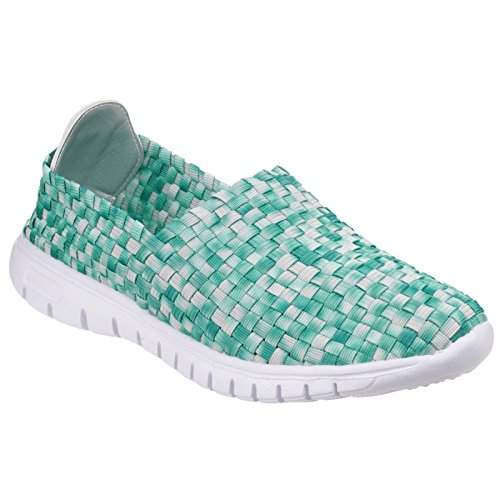 Divaz Ladies Raft Slip On Cross Stitched Textile Summer Shoe White Fuchsa