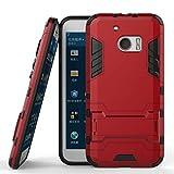 UKDANDANWEI HTC 10 / 10 Lifestyle Hülle - Doppelschutz Outdoor-Hülle Super Schild Bumper Rahmen Case mit Ständer für HTC 10 / 10 Lifestyle Rot