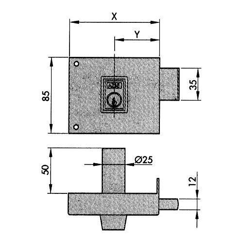 Azbe–Einsteckschloss Türschloss, 124-ap140Dr. Perf.
