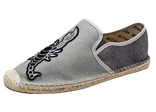 Insun Alpargatas para Hombres Lona Vamp Artesanal Suela Cuerda de Yute Plana Zapatos Moda Gris Escorpión...