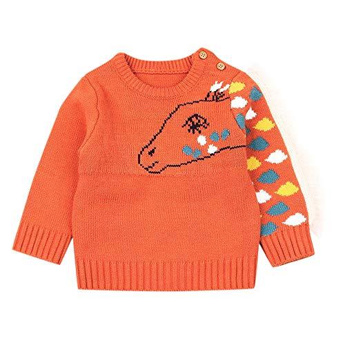 Fuibo Baby Halloween Kleidung, Neugeborenen Baby Langarm Cartoon Pferd Quaste Gestrickte Tops Kleidung Weihnachten (12-18M(90), Orange)
