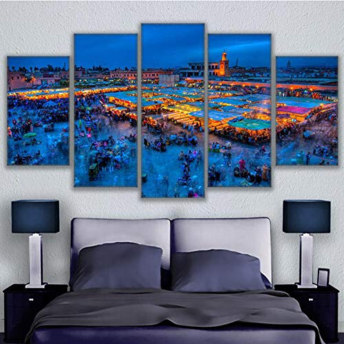 zysymx Modulare Bilder Poster Rahmen 5 Panel Marrakesch Platz Poster Hochwertige Leinwand Malerei HD Drucken Kinderzimmer Dekoration