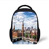 Kids School Backpack London,Extensive Cityscape with Big Ben Westminster Bridge on River Thames and Clouds Image,Multicolor Plain Bookbag Travel Daypack