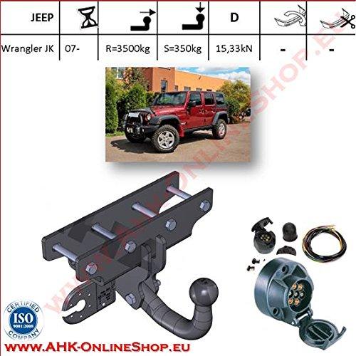 ATTELAGE avec faisceau 7 broches   Jeep Wrangler JK de 2007- / crochet «col de cygne» démontable avec outils