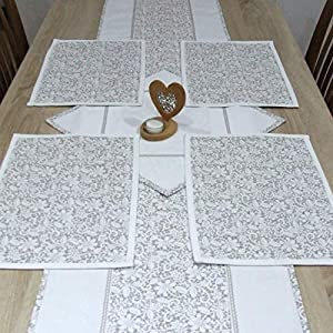 HomeAtelier Set, 1 Tischläufer (130x40cm / 150x40cm / 170x40cm,) 1 Quadratische Tischdecke (40x40cm) und 2, 4 oder 6 Tischsets, das Beste Geschenk für Haus, Beige Spitze, Küchendekoration
