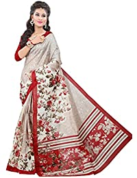 Glory Sarees Women's Cotton Saree (Vnart21, Beige And Red, Free Size)