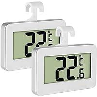 Termometro frigo frigorifero termometro  Inrigorous LCD digitale frigorifero congelatore termometro monitor con grande schermo LCD  posteriore magnetica con gancio e supporto retrattile 2 pezzi