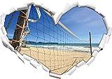 Stil.Zeit Rete di pallavolo sulla Spiaggia, Forma di Cuore in Formato Sguardo, Parete o Adesivo Porta 3D: 62x43.5cm, autoadesivi della Parete, Decalcomanie della Parete, Decorazione della Parete