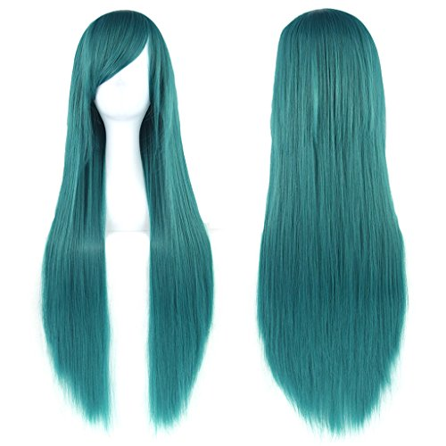 "Preisvergleich Produktbild Fouriding 31"" Green Women's Long Straight Cosplay Party Wigs Hairpieces Hair Cap Lolita Style Anime Wig"