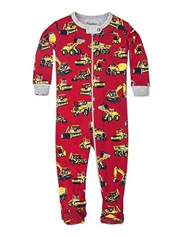Hatley Organic Cotton Footed Sleepsuit, Pyjama Bébé Garçon, Red (Heavy Duty Machines), 18 Mois