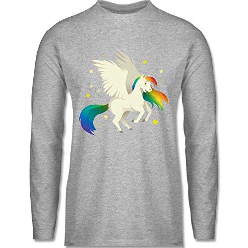 Shirtracer Comic Shirts - Pegasus - Herren Langarmshirt Grau Meliert