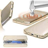 URCOVER® 360 Grad Case Cover Protettiva | Custodia Samsung Galaxy S7 Edge | Silicone TPU in Champagne Oro | Protezione Schermo Trasparente Ultrasottile Back Antigraffio Screen Protector