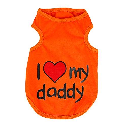 Eleery haustier hund welpen süß I LOVE MOMMY Shirt T-shirt pullover overall mantel samt kleidung outwear korallen (M, Orange)