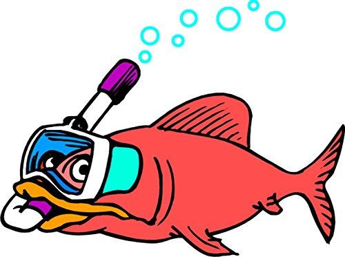 T-Shirt E769 Schönes T-Shirt mit farbigem Brustaufdruck - Logo / Grafik - Comic Design - dicker Fisch mit Taucherbrille und Schnorchel Mehrfarbig