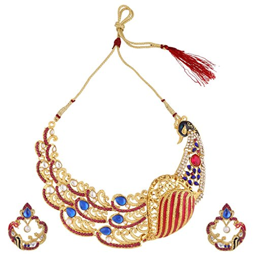 Dancing Girl Bridal Dulhan Rani Pink Blue Metal Alloy Jewellery Set With Necklace And Earring For Women  available at amazon for Rs.699