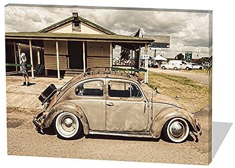 Oldtimer Beetle, Gemälde Effekt, schönes und hochwertiges Leinwandbild zum Aufhängen in XXL - 80cm x 60cm, echter Holzrahmen, effektiver Pigmentdruck, modernes Design für Ihr Büro oder Zimmer