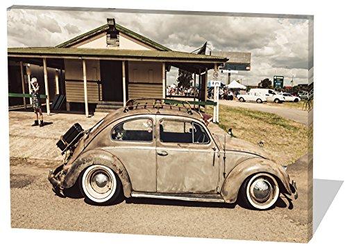 Preisvergleich Produktbild Oldtimer Beetle, Gemälde Effekt, schönes und hochwertiges Leinwandbild zum Aufhängen in XXL - 120cm x 80cm, echter Holzrahmen, effektiver Pigmentdruck, modernes Design für Ihr Büro oder Zimmer