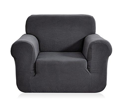 Ebeta Elastisch Sofa Überwürfe Sofabezug, Stretch Sofahusse Sofa Abdeckung Hussen für Sofa, Couch, Sessel 1 Sitzer (Dunkelgrau, 85-115 cm)