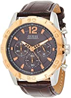 Guess Mens Quartz Watch, Analog Display and Leather Strap W0864G1