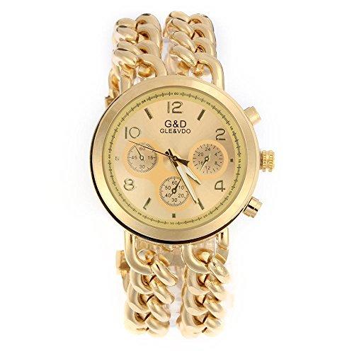 n Modeuhr Armbanduhr Armreifen Armkette Uhr Damenuhr Gold Charms (Gold-farbe-kombination)