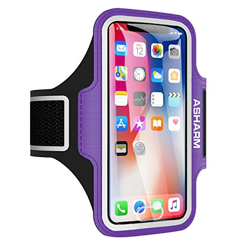 ASHARM Sport Armband, Handy Armband Fitness Universell für Laufen mit Schlüsselhalter, Kabelfach und Kartenhalter, für iPhone 8/7/6/6S/5/5S/SE,Galaxy S7/S6/S5 bis 5.8 Zoll- Lila