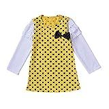 YWLINK Lange ÄRmel Baby MäDchen RüSchen Retro Bogen Prinzessin Kleid Sommerkleid Outfits Kleidung(Gelb,100)