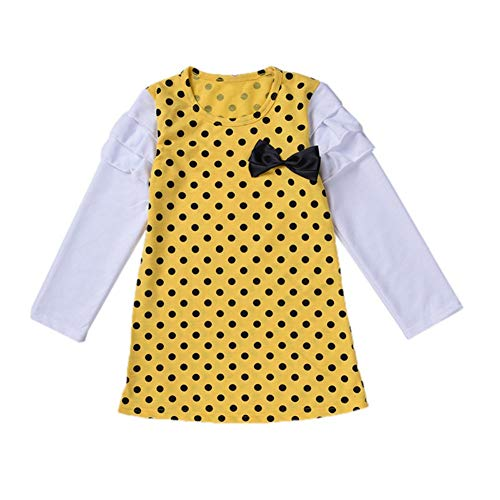 Baby MäDchen RüSchen Retro Bogen Prinzessin Kleid Sommerkleid Outfits Kleidung(Gelb,100) ()