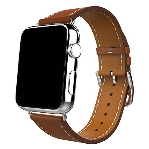 Galleria fotografica Apple Watch Cinturino,Haodog Soft Silicone Sport Cinghie con fori di ventilazione Smart Watch Braccialetti di Ricambio si applicano a iwatch Serie 3,Serie 2,Serie 1,M/L (42mm, Nuovo Marrone)
