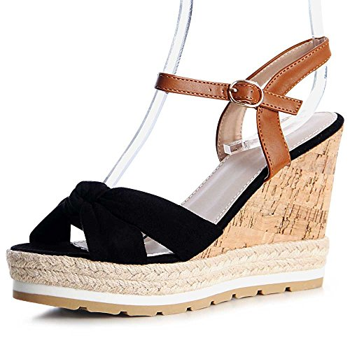 Damen Sandaletten Sandalen Keilabsatz 1167 Schwarz